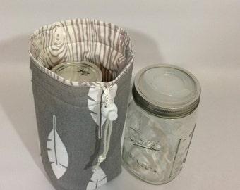 Mason Jar Carrier Bag - Quart Single Jars to Go grey feathers with wood grain mason jar pouch carrier cozy