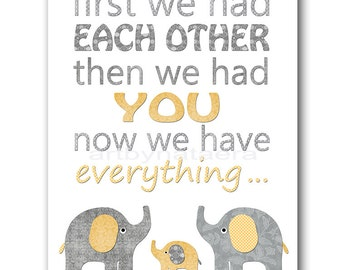 Yellow and Gray Baby Boy Nursery Quotes Art Elephant Nursery Art Baby Boy Room Decor Baby Nursery Decor Kids Wall Art Kids Art
