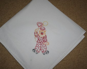 Flour sack Dishtowel - Hand Embroidered - clown