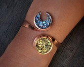 Sun and Moon Bracelet - Bismuth Crystals in a Copper Bracelet - Boho Bracelet - Custom Cuff Bracelet  - Celestial Bracelet - Bismuth Jewelry