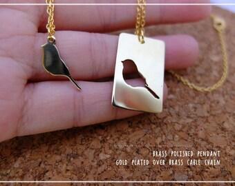 Bird Necklace Set -Little Bird Mother Daughter Necklace Set  - simple, minimal geometric jewelry,mother, X'mas, Valentine gift