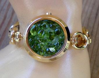 Green jeweled watchband bracelet, Recycled jewelry, Handmade jewelry, Repurposed jewelry, Upcycled jewelry,Free USA shipping, Made in USA/MI