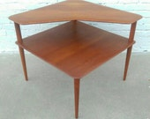 Vintage 50's Solid Teak Danish Corner Table by Peter Hvidt and Orla Molgaard Nielsen for France & Son
