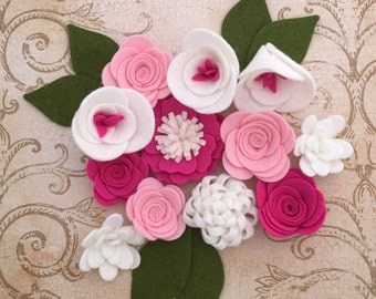 Handmade Wool Felt Flowers on shades of Pink and White