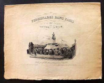 Victor Adam 1830 Promenades dans Paris Title Page. Publie par Giraldon