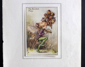 Cicely Mary Barker C1930 Flower Fairy Print. The Burdock Fairy