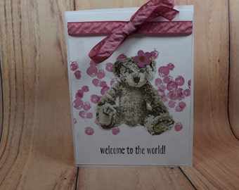 Baby Card-bubbles-sweet sugar plum color-ribbon-teddy bear-welcome to the world-stamped
