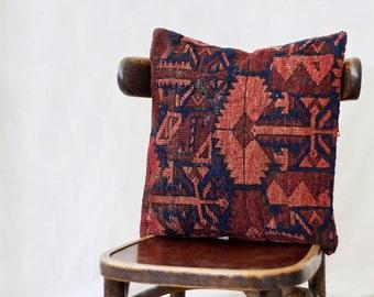 Turkmen rug pillow, 16x16, SINGLE,  kilim pillow case, red and black, made in Uzbekistan, Turkoman rug, red and orange with indigo blue wool