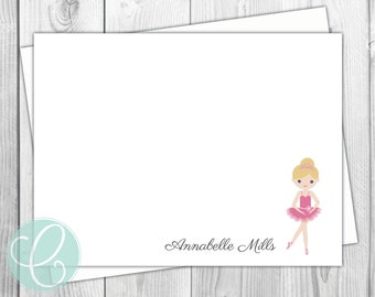 Ballerina Girls Stationery - Ballet Flat Note Cards - Set of 12 - Personalized Girls Thank You Cards