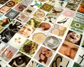 "100 Inchies - Mixed Grab Bag of Tiny Ephemera / Die Cut 1"" Squares / Collage Decoupage / Paper Quilting / Upcycled & Vintage Ephemera Pack"