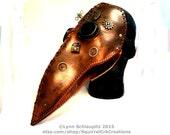 Leather Steampunk Plague Doctor Mask. Handmade.  Steampunk, Cosplay,  Renaissance, Masquerade, Theatre, Costume, Apocalypse