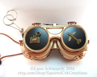 Steampunk Goggles with Gears.   Airship Captain, Steampunk Accessory, Cosplay, Steampunk costume, Jeweler's Loupe, Larp, Welding Goggles