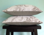 White Linen Pillow Covers, Set of two 14x18 White Decorative Pillow Covers, Floral Cushions, white and grey linen throw pillows