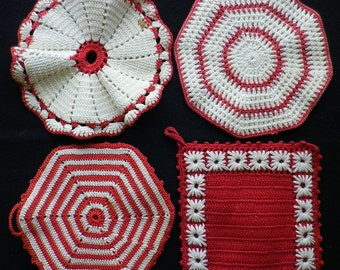 Vintage Pot Pads - Holders - Doilys, group of 4, Red & White