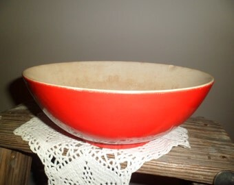Primitive Red Pottery Bowl Farmhouse Red Mixing Bowl