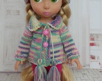 """handmade Outfit for Disney Animators 15"""" doll - Cardigan, Hat and Leggings in pastel multicolour"""