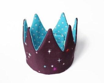 Kid Pretend & dress-up Crown- blue dots and stars