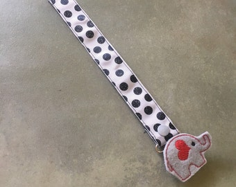 Pacifier Leash Paci Leash - Grey with Black Glitter Dots Ribbon