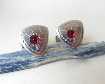 Men's Vintage 1950's Silver Engraved Triangular Cufflinks with Red Lucite Gems