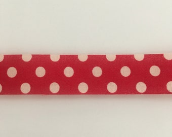 "Red Polka Dot Decorative Ribbon 15/16"" Width Trim 100% Cotton Spring Bows Scrapbook 1 Yard"
