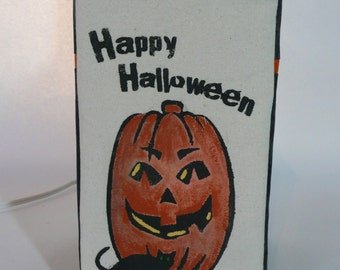 Pumpkin and black cat Halloween lamp cover. Halloween decoration. Halloween LampSock©. LAMP SOLD SEPARATELY.