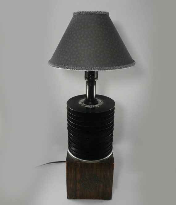 Nostalgic 45 vinyl record lamp with distressed wood by for Lamp light records
