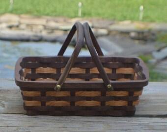 wooden Bread serving basket Oak and Walnut wood