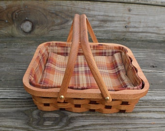 Serving tray basket small square Honey Locust wood