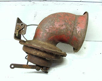 Vintage Truck Horn - Awesome Old Red Paint Steampunk