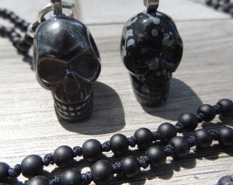 Natural stone skull necklace. Full of details. Hand carved.