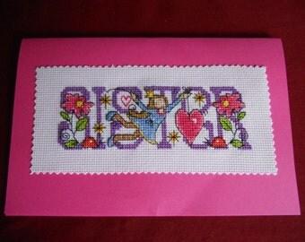 "Cross stitch card -  ""Sister"""