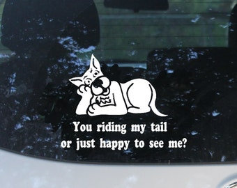 Riding my Tail Dog Car Decal, Animal Lover Gift, Dog Rescue, Love My Dog, Dog Sticker, Bumper Sticker