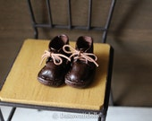 Blythe Doll / Hand made Leather shoes / work boots short/Espresso