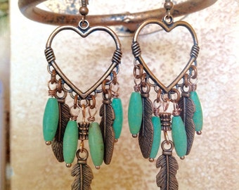 Western copper heart and feather earrings