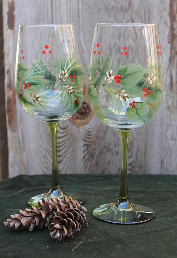 Holly Christmas Wine Glasses Page Two | Christmas Wikii