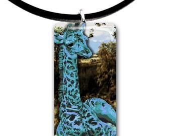 teal blue, handmade, baby Giraffe, artwork, glass tile pendant, teal blue colors