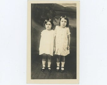 Vintage Portrait Photo RPPC: Sisters, Frieda & Mary Jean, W. Virginia, c1920s (68492)