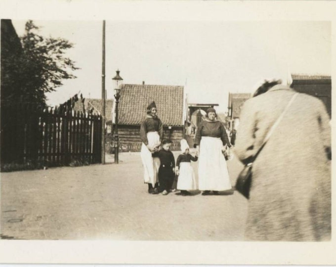 Tourist Taking Photo of  Dutch in Traditional Dress, 1930s-40s Vintage Snapshot Photo (512436)