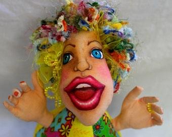 "Cloth art doll fantasy pincushion ""Sunny"""