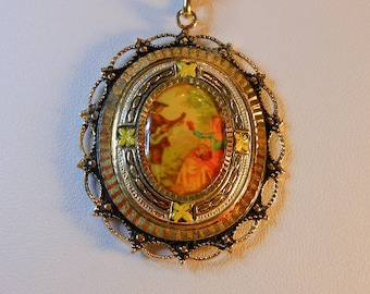 Picture Pendant Necklace  Miniature Enamel Picture Pendant  22 Inch Twisted Rope Chain