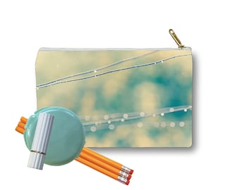 Clutch Bag Zippered Pouch Raindrops on Clothesline