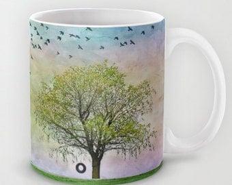 Coffee Mug Ceramic Mug Spring Summer Tree Tire Swing