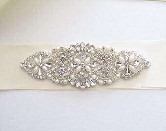 Bridal Sash / Rhinestone Bridal Sash /  Ribbon Sash