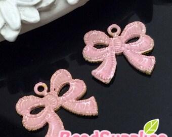 CH-ME-02272SPX - Gold plated, Lace ribbon V1, blushed sakura pink,  4 pcs