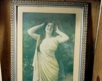 Antique Art Nouveau Woman Framed Photograph