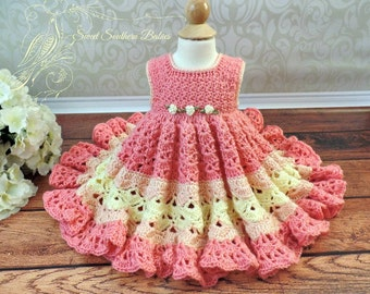 Baby and Toddler Girl's Frilly Dress in Bright Spring Colors- Newborn to 2 Years - Summer