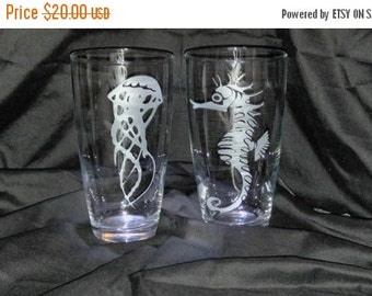 ON SALE Seahorse and Jelly Fish