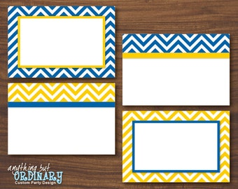 Blue and Gold Chevron Buffet Cards, Editable Blue and Yellow Food Labels, Table Tents, INSTANT DOWNLOAD, digital printable file