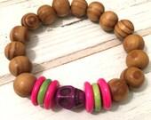 SALE Wood bracelet with purple skull bead