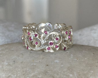 Womens Floral Wedding Band- Ruby Filigree Eternity Band- Wide Band Sterling Silver Ring- Ruby Bridal Carving Band- Unique Engagement Ring